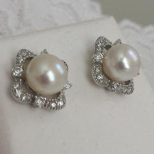 Jewelry - Sterling Silver Fresh Water Pearls Cz Earrings